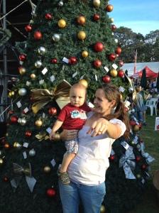 Eine nicht ganz echte Tanne auf dem Parkview Christmas Market im George Hay Park